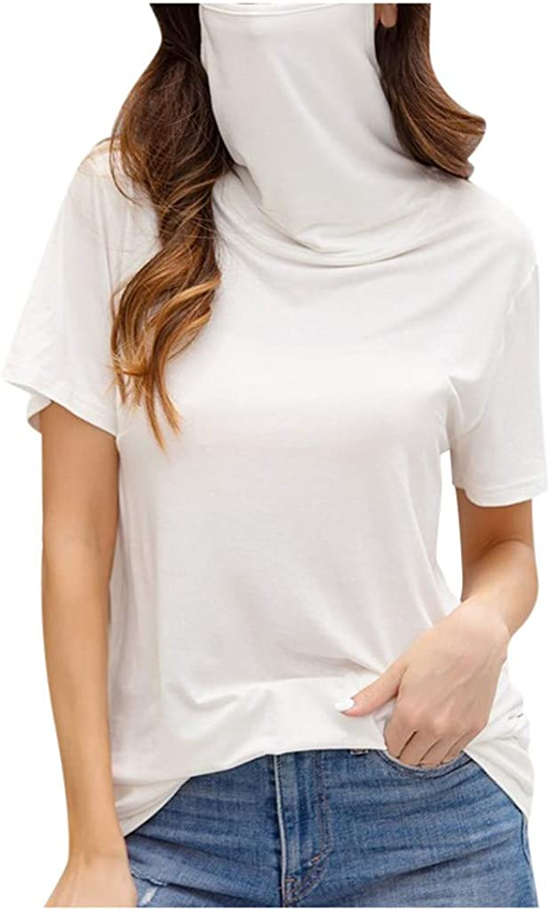 Forwelly Women Oversize T Shirt Plain Casual Turtleneck Short Sleeve Tunic Top Blouse with Face Bandana
