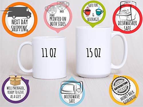 Personalized Gifts Coffee Mug with Name and Initial - 11oz & 15oz Large Ceramic Cup - 9 Different Designs - Birthday Gifts, Mother's Day Gifts, Gift for Grandma - D7