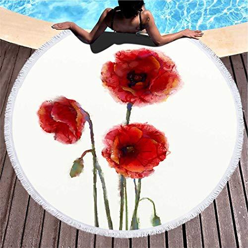 Kuidf Summer Beach Towel Red Poppy Flowers Painting Large Round Beach Towel Blanket, Microfiber Beach Towel Roundie Tapestry Yoga Mat for Women Man, 59 Inches