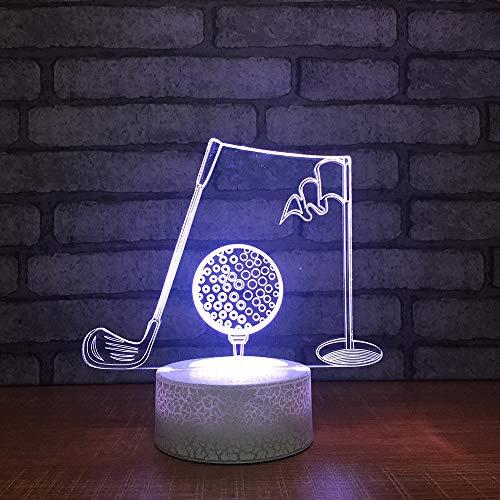 Nachtlichter Nachtbeleuchtung 3D Led Acryl Golfball Modellierung 7 Farbe Illusion Bunte Änderung Schreibtischlampe Dekor Kinder Geschenke Usb Nachtlichter