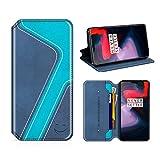 MOBESV Smiley OnePlus 6 Hülle Leder, OnePlus 6 Tasche Lederhülle/Wallet Hülle/Ledertasche Handyhülle/Schutzhülle mit Kartenfach für OnePlus 6, Dunkel Blau/Aqua