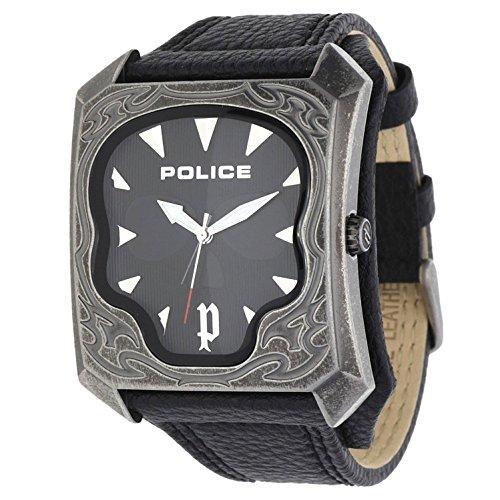 Police p14252jsqs-02–Orologio da uomo, cinturino in pelle colore nero