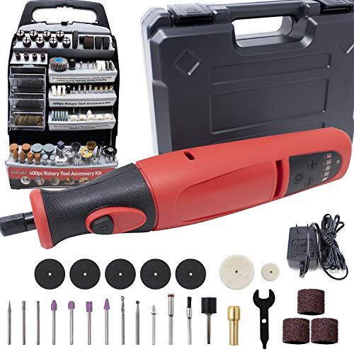 Toolman Power Cordless Rotary Tool 8V with 900Ah Lithium Battery variable speed 424pcs Accessories and Shield Attachment, Long Endurance Power for Sanding, Grinding, Cutting and Engraving DB5805Q033