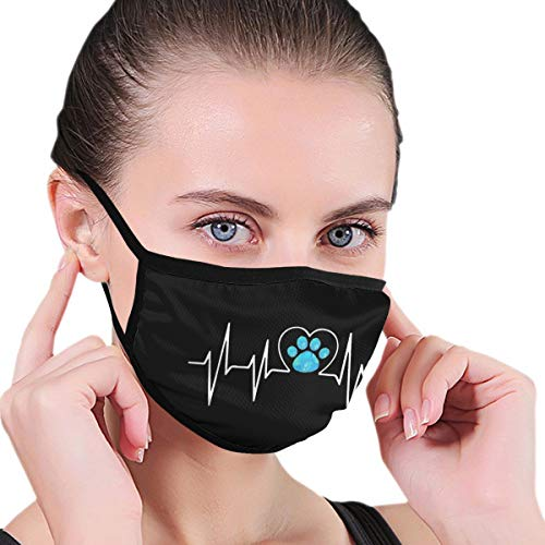 Paw Print Heartbeat Mask Men's Women's Graphics Half Face Printed Mouth Cover Mask Protective...