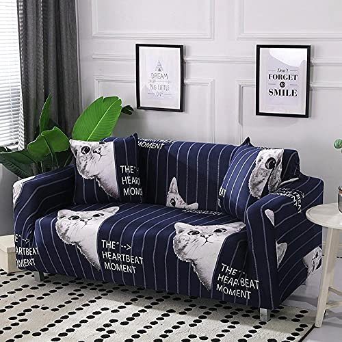 Funda Sofas 2 y 3 Plazas Gato Blanco Fundas para Sofa con Diseño Elegante Universal,Cubre Sofa Ajustables,Fundas Sofa Elasticas,Funda de Sofa Chaise Longue,Protector Cubierta para Sofá