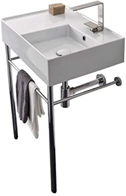 Scarabeo 5117-CON-One Hole Bathroom Sink, One, White