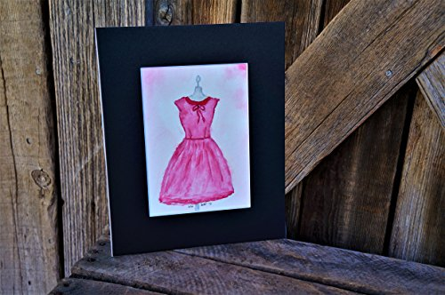Original Hand Painted Watercolor Pink Dress 5x7 - Matted