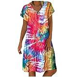 Vestido Casual de Playa Mujer Verano 2020, Dragon868 Rebajados Mujeres Impresión Colorida Vestidos de Manga Corta, Vestido Corto Cuello V, Tie Dye Blusa Tops Túnica Suelto, Tallas Grandes, S-5XL