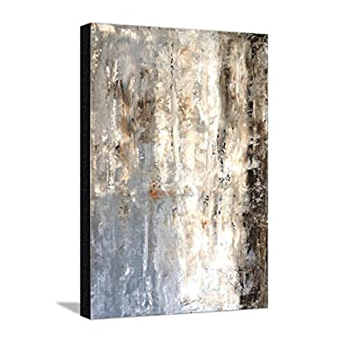 Canvas Print Wall Art 'Brown And Grey Abstract Art Painting' by T30Gallery, 24x32 in