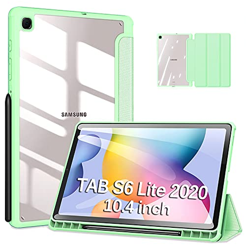 DUZZONA Funda para Samsung Galaxy Tab S6 Lite 10.4 2020(P610/P615),Ultra Delgada Trasera Transparente Back TPU Cover Carcasa con Soporte Incorporado de Pencil,para Tab S6 Lite,Claro Verde