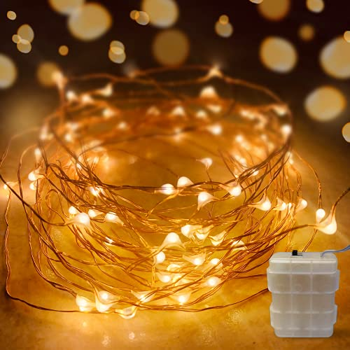 EhomeTronics String Lights, 1 Pack 16.5ft 50 LEDs Battery Operated Fairy Lights Waterproof Copper Wire Decorative Twinkle Light for Indoor Christmas Party Bedroom Patio Garden Wedding Warmwhite