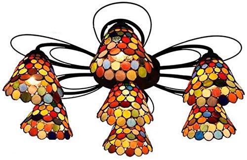 DALUXE Tiffany plafoniera Europeo Multi-Head Stained Glass Creativo della Luce di soffitto Bohemia Vintage lampadario per Soggiorno,B