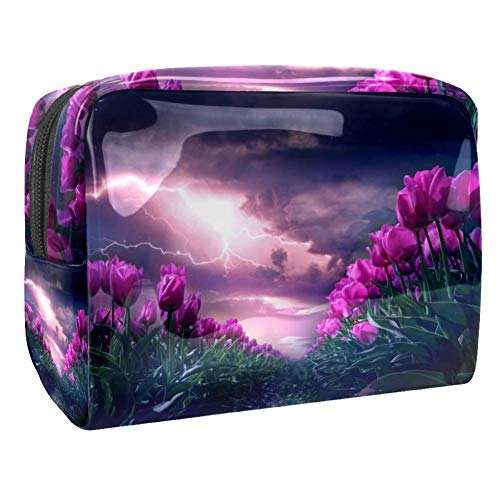 Trousse de maquillage multifonction de voyage de toilette organiseur pour femme tulipe champ fleurs jardin foudre