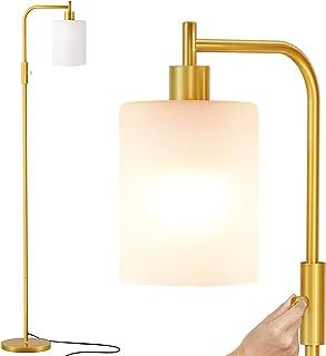 SUNMORY Lampadaire sur Pied Salon, Lampadaire LED avec Abat-jour en Verre Dépoli Blanc, Ampoule à 3 Températures de Couleu...
