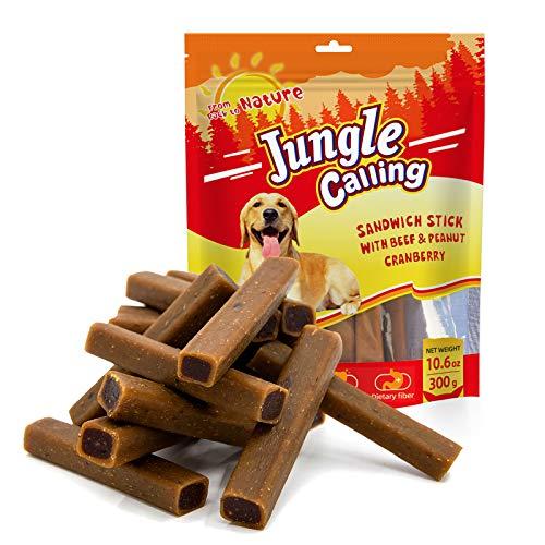 Jungle Calling Comida Perros, Golosinas para Perros Comida Seca para Perros Varilla Molar Dientes Limpios Suplemento de Calcio Nutritivo y Delicioso,300g(Contiene Carne de Res, Maní y Arándanos)