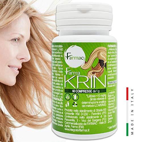 FarmaKrin, Integratore Capelli, Unghie, Pelle | BIOTINA, Zinco, Selenio e Vitamine per capelli| 60 compresse | Anticaduta, Crescita rapida, Nutre, Rinforza | Integratore capelli donna| Biotina capelli