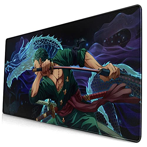 Large Gaming Mouse Pad Japanese Anime One Piece Roronoa Zoro Cool Anti Slip Mouse Mat Stitched Edges Desk Mat Living-Room Desk Pad 29.5x15.8 Inch