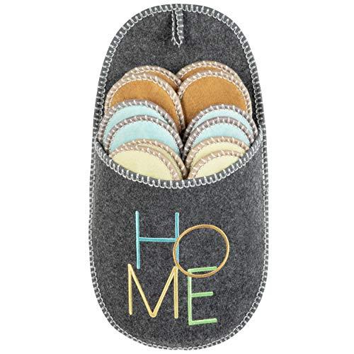ONVAYA® Pantuflas para invitados ABS | gris | juego de 6 | suela antideslizante | zapatillas de estar por casa | pantuflas de fieltro | tallas 36-45