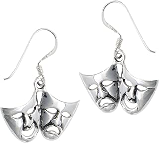 Theatre Mask Comedy Tragedy Acting .925 Sterling Silver Thespian Dangle Earrings