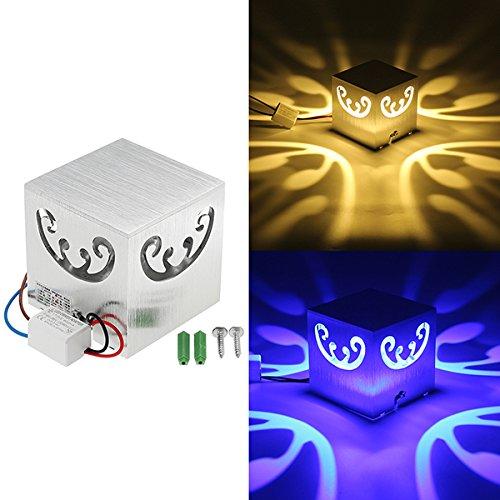 SUNXK 3W Modern Creative Butterfly LED luz de la pared interior Plaza Decoración Lámpara AC85-265V SUNXK (Color : Color Blue)