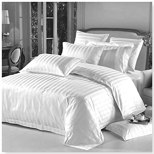 AR Textile 5 Star Hotel Quality 100% Egyptian Cotton Satin Stripe Duvet Cover Set With Pillowcases in White & Cream Colour (King, White)