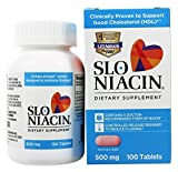 Slo-Niacin Vitamin B3 500 Mg - Slow Release Niacin for Heart Health, Energy Boost, Health Skin, Healthy Blood Sugar Levels - 100 Capsules