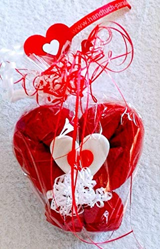Hochzeitsgeschenk Handtuch-Herz in rot, eine Handtuchfigur als Hochzeitsüberraschung Hochzeitsfeier
