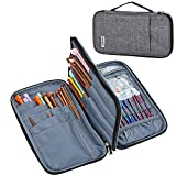 HOMEST Long Knitting Needle Case(up to 12 Inches), Circular Knitting Needle Storage Bag, Portable Tote for Knitting Accessories, Easy to Carry, Grey (Bag Only)