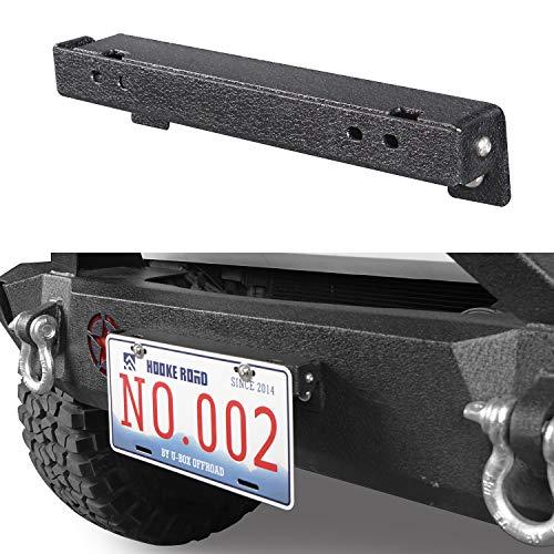 Hooke Road Flip-Up License Plate Holder for Winch Texture Black Compatible with Jeep Wrangler YJ TJ JK JKU JL Gladiator JT Tacoma Tundra Ram F150 Pickup Truck