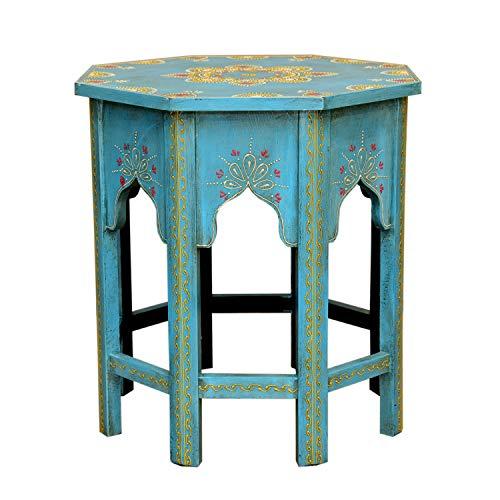 Casa Moro Marrakesch durdana - pintadas a Mano handgertigte - Mesa Auxiliar, Fabricado a Mano Vintage Mesa Saada Azul L | MA32-47-C-L