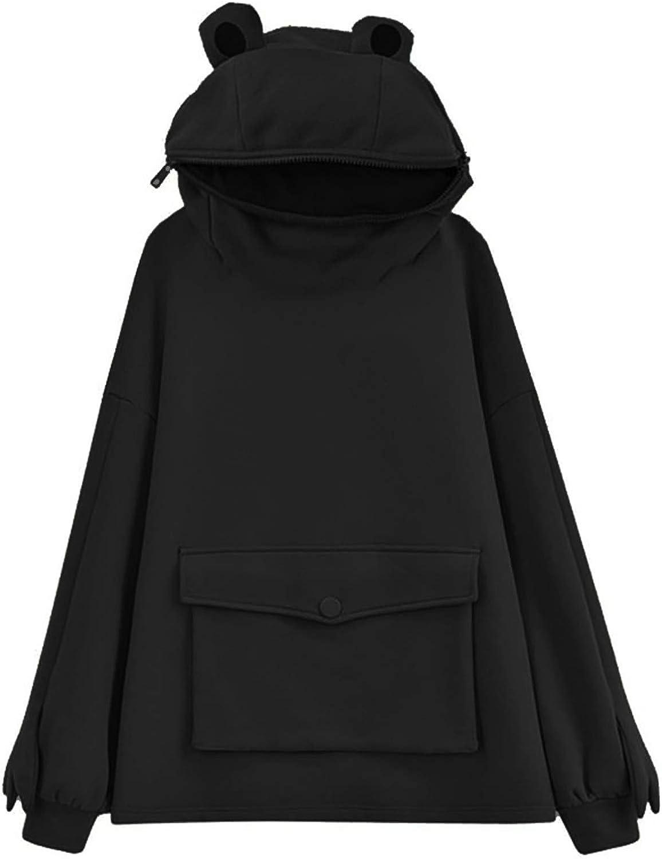 ORT Hoodies for Women Zip Up, Frog Hoodie for Women Long Sleeve Cute Kawaii Oversized Sweatshirt Hoodies Casual Loose Tops