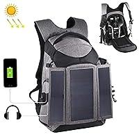 CYcaibang カメラバッグ 3倍のUSBポート&イヤホンの穴が14Wソーラーパワー屋外ポータブルデュアル肩Backpackageカメラバッグを(グレー) (色 : Grey)