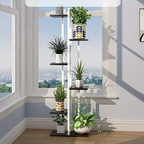 Blumenständer- Mehrschichtiger Bodenstehender Pflanzen-Ausstellungsstand, Metalleckentopfgestell-Blumentopfhalter für Innen, Wohnzimmer, Balkon,