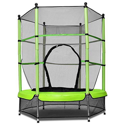 GOPLUS Trampolin Indoor Kindertrampolin Gartentrampolin Outdoor Trampolin Sprungmatte mit Sicherheitsnetz 160cm Farbwahl (Grün)