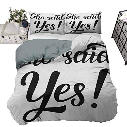 Bedding Set Duvet Cover Engagement Party Soft Bedding Cover for All Season She Said Yes Quote in Bold Hand Written Sketchy Image Celebration ,3 Piece Bedding Set with 2 Pillow Shams,Twin Size