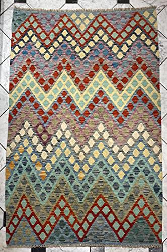 Alfombra oriental afgana hecha a mano Kilim de lana de colores naturales afganos turcos nómada persa tradicional persa 124 x 183 cm vintage corredor pasillo escalera reversible