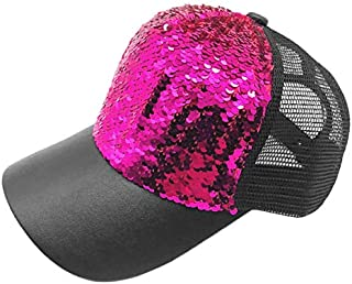 BEESCLOVER New Luxury Paillette Bling Sequin Mesh Girl Summer Hats Adjustable Baseball Caps