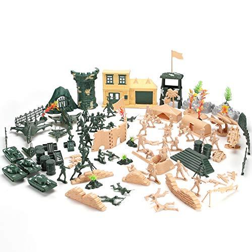 Hautton 【130 Stück Spielfiguren Set von Armee Soldaten Figuren Militär Modell Spielesets Mini-Plastik-Soldatenfiguren Spielzeug Militärspielset für Kinder Jungen
