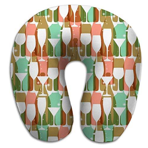Almohada en Forma de U Cuello Almohada de Viaje Coche Avión Botellas de Vino Vasos Colores Brillantes Patrón Cartel Web Impresión Textil Otro re Pastel Rojo PLW-551