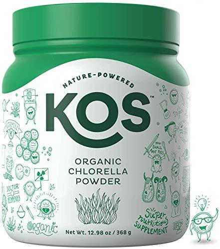 KOS Chlorella en polvo orgánico | sin irritación, sabor neutro clorella en polvo | USDA orgánico, enzima digestiva natural, ingredientes a base de plantas, 368 g, 92 porciones