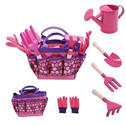 Evelure Gartenwerkzeug-Set für Kinder, Gartenwerkzeug-Set 6-teilig für Kinder mit Gießkanne, Gartenhandschuhe, Schaufel, Harke, Kelle (Pink)