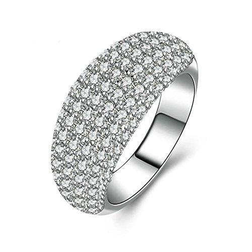 Beydodo Anelli Donna 925 Argento Anelli Fidanzamento Personalizzati Anello di Cristallo con Rotonda Brillante Diamante Taglia 10-27