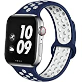 EXCHAR Sport Band Compatible with Apple Watch Band 44mm Series 5/4 Breathable Soft Silicone Replacement Wristband Women and Men for iWatch 42mm Series 3/2/1 Nike+ All Various Styles M/L Blue-White