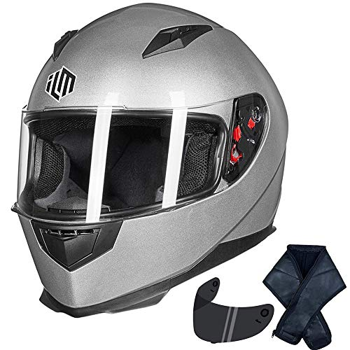 ILM Full Face Motorcycle Street Bike Helmet with Removable Winter Neck Scarf + 2 Visors DOT (L, Silver)