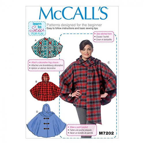 McCall 's Damen Easy Learn To Sew Schnittmuster 7202Poncho + Gratis Minerva Crafts Craft Guide