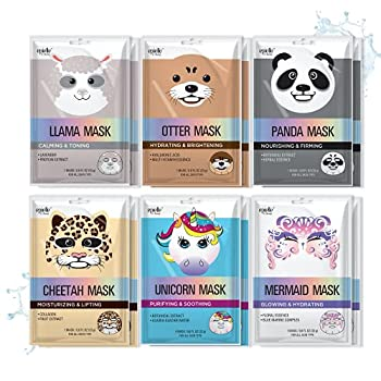 Epielle Character Sheet Masks | Animal Spa Mask Korean Beauty Mask -For All Skin Types  Pack of 12  | Birthday Party Gift for her kids Spa Day Party Girls Night Spa Night Beauty Gift  Assorted Characters-12pk A