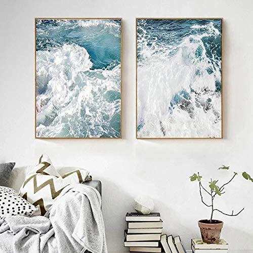 Price comparison product image Fashion Abstract Posters and Prints Ocean Wave Seascapes Canvas Painting Nordic (Wall Art) Pictures for Living Room Decor 70x100cm x2 No Frame