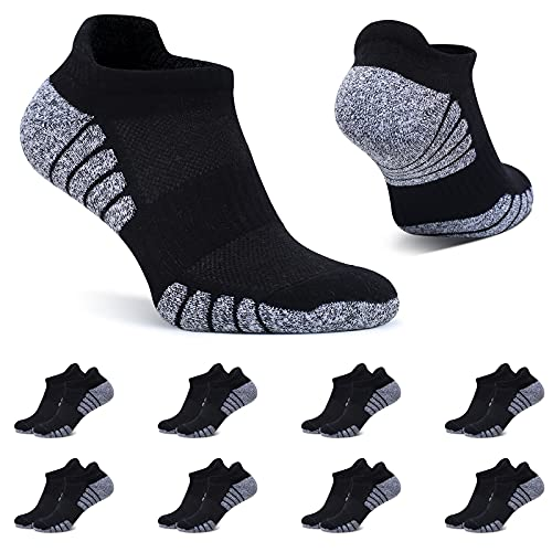 BUTTBILL Sneaker Socken Herren 43-46 Schwarz Sportsocken 8 Paar Kurze Socken Baumwolle Gepolsterte Laufsocken Damen Atmungsaktive Unisex