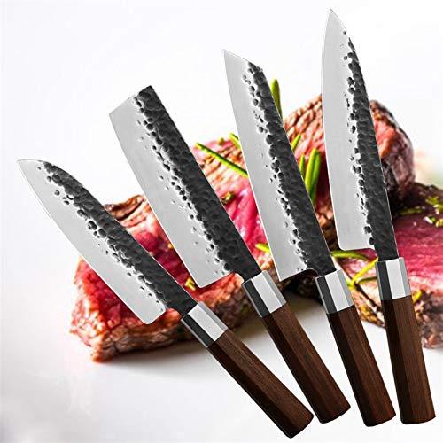 Juego de cuchillos 4pcs / set Sharp sharp acero inoxidable Cuchillo de cocina conjunto Sushi Chef Cuchillo Cuchillo de carne Santoku Cuchillo Hecho a mano Cuchillos forjados Conjunto