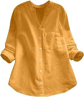 Women Cotton Linen Button Down Tops Casual Long Sleeve Shirt Blouse